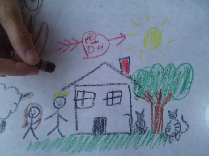 Our House, Northern Elevation, circa 2012 Crayon on Placemat